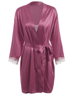 Faux Silk Robe Outerwear And Slip Dress - Purplish Red L