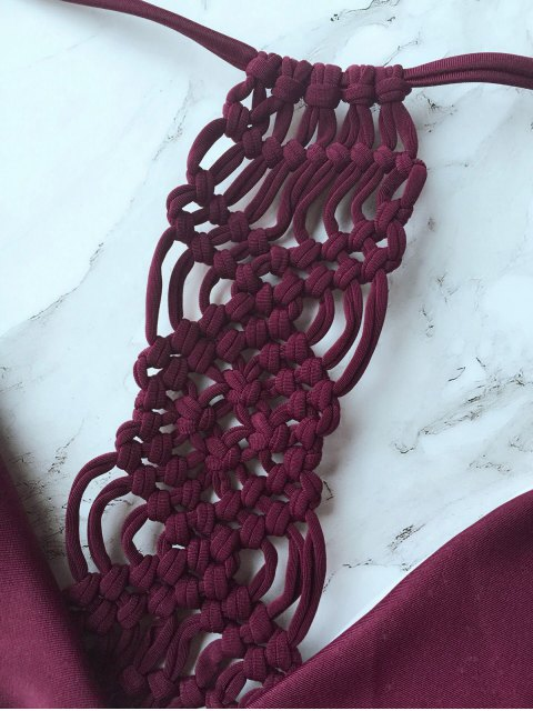 shop Knitting Strappy Bikini Set - BURGUNDY S Mobile