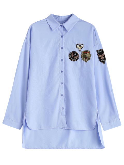 womens Uneven Hem Striped Miitary Patches Shirt - LIGHT BLUE L Mobile