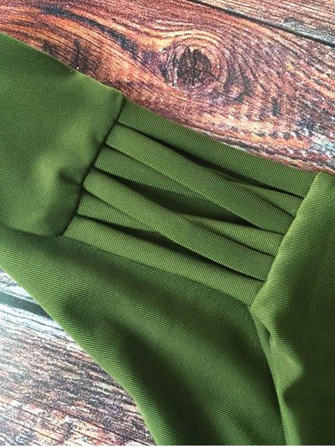 women Lace-Up Cutout Strappy Bikini Set - GREEN S Mobile