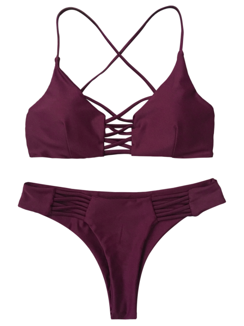 trendy Lace-Up Cutout Strappy Bikini Set - PURPLE S Mobile