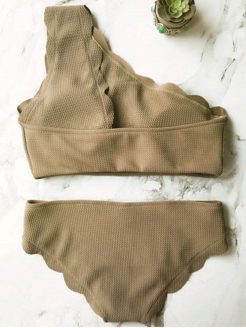 trendy Wireless Scalloped One Shoulder Bathing Suit - GREY OLIVE L Mobile
