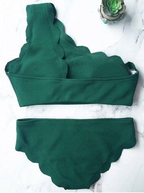 fancy Wireless Scalloped One Shoulder Bathing Suit - BLACKISH GREEN L Mobile