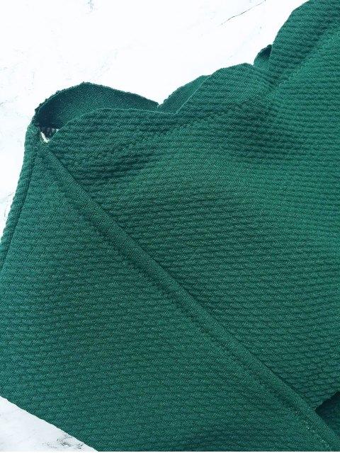 unique Wireless Scalloped One Shoulder Bathing Suit - BLACKISH GREEN M Mobile