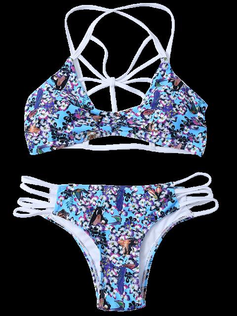 outfit Strappy Lattice Tiny Floral Bikini - BLUE S Mobile