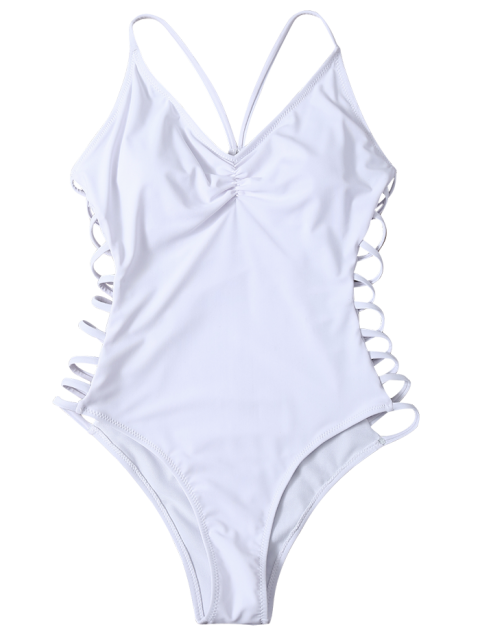 ladies Cutout High Cut One-Piece Swimwear - WHITE L Mobile