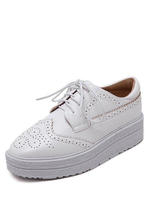 women's Faux Leather Wingtip Tie Up Platform Shoes - WHITE 38 Mobile