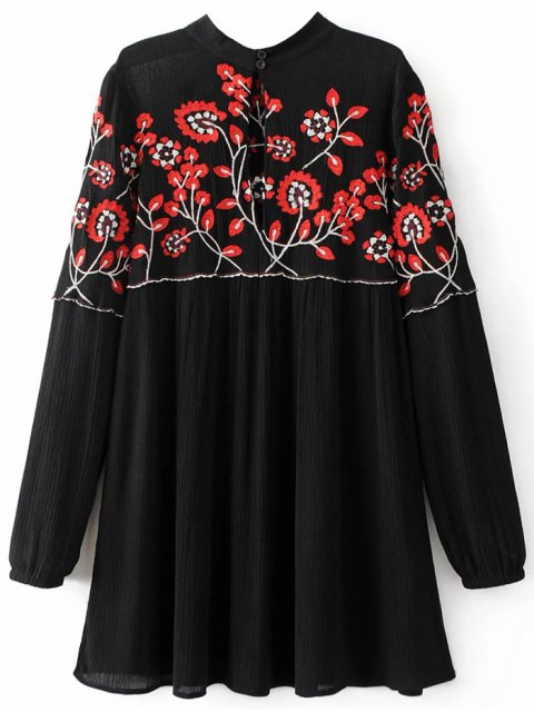 ladies Stand Neck Floral Embroidered Dress - BLACK L Mobile