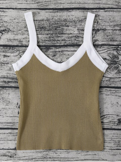 new Color Block Knitted Ribbed Tank Top - FLAX GREEN ONE SIZE Mobile