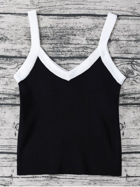 outfits Color Block Knitted Ribbed Tank Top - BLACK ONE SIZE Mobile