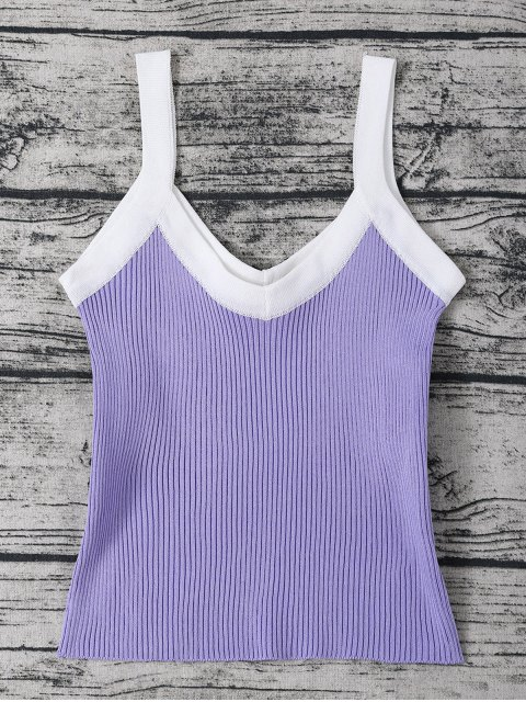shops Color Block Knitted Ribbed Tank Top - PURPLE ONE SIZE Mobile