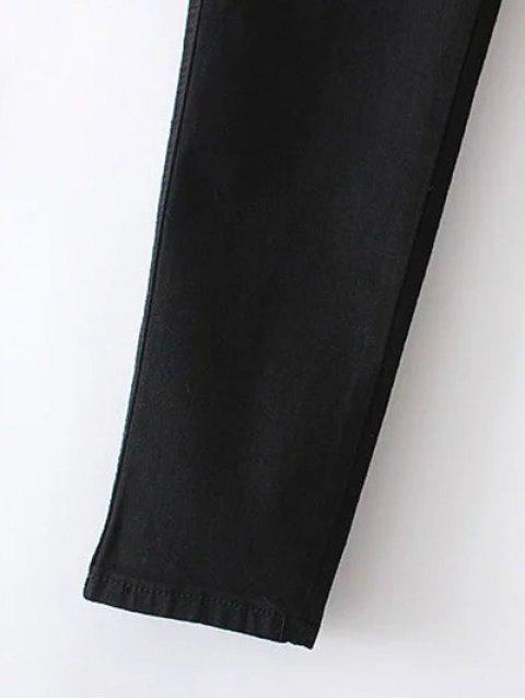womens Slim Floral Embroidered Jeans - BLACK L Mobile
