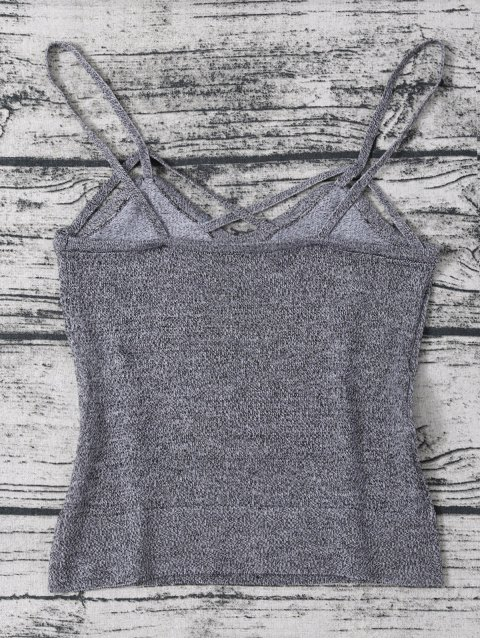 fancy Cami Heathered Cropped Knitted Tank Top - GRAY ONE SIZE Mobile