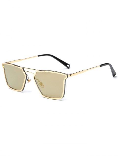 unique Irregular Double Rims Mirrored Sunglasses - GOLDEN  Mobile