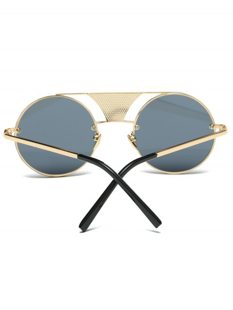 womens Openwork Mesh Insert Round Sunglasses - GOLDEN  Mobile