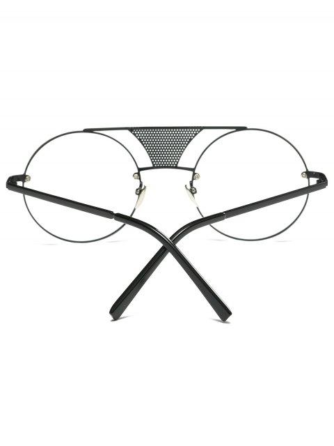 women Openwork Mesh Transparent Lens Round Sunglasses - BLACK  Mobile