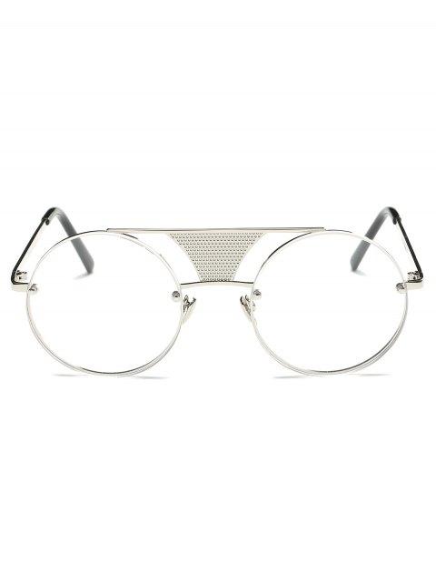 women's Openwork Mesh Transparent Lens Round Sunglasses - SILVER  Mobile