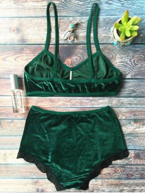 trendy Lace Hem High Waisted Velvet Bra Set - BLACKISH GREEN S Mobile