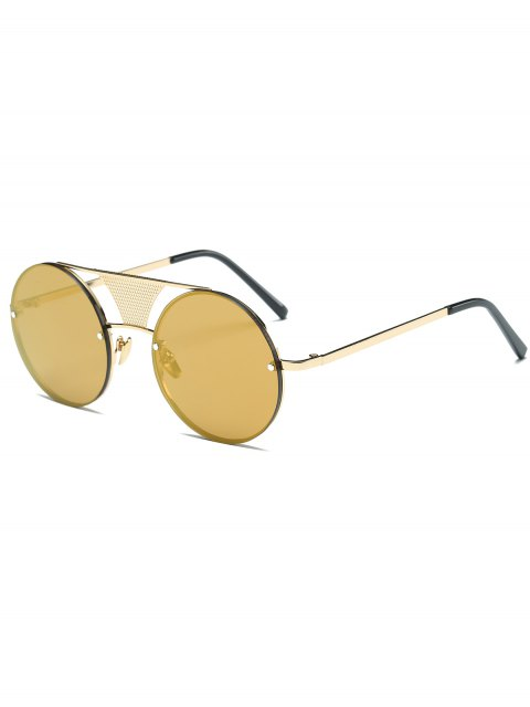 lady Openwork Mesh Mirrored Round Sunglasses - GOLDEN  Mobile