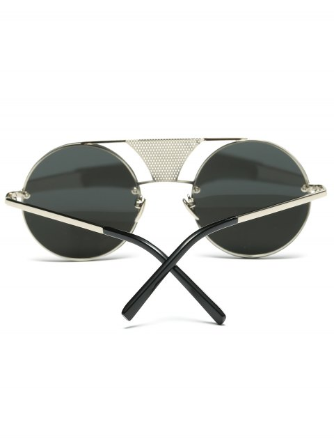 best Openwork Mesh Mirrored Round Sunglasses - SILVER  Mobile