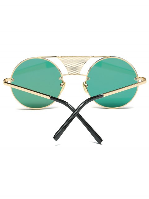 online Openwork Mesh Mirrored Round Sunglasses - PINK  Mobile