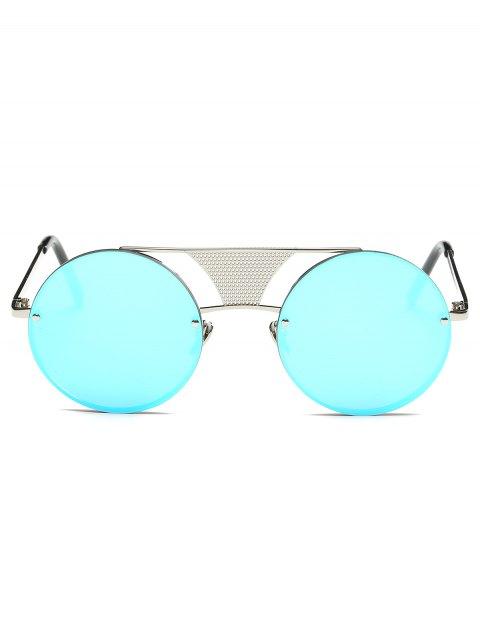 new Openwork Mesh Mirrored Round Sunglasses - CLOUDY  Mobile