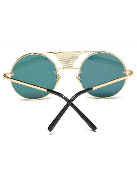 hot Openwork Mesh Mirrored Round Sunglasses - SHALLOW PINK  Mobile