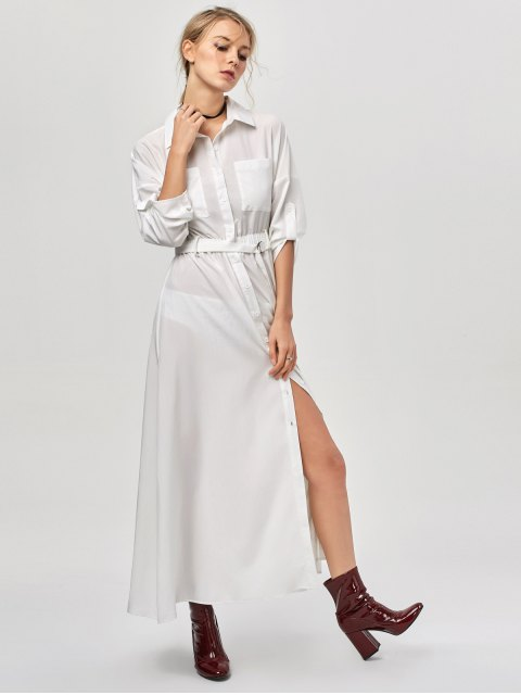 outfit Button Up Belted Maxi Shirt Dress - WHITE L Mobile