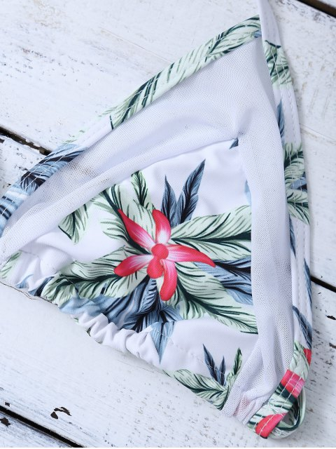 outfits Mesh Insert Palm Leaf String Bikini - WHITE XL Mobile