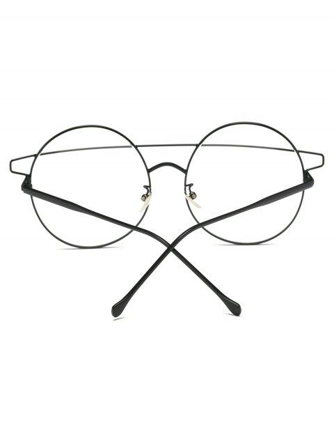 fashion Transparent Lens Crossover Round Sunglasses - BLACK  Mobile