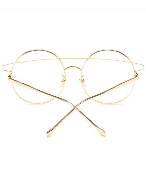 fancy Transparent Lens Crossover Round Sunglasses - GOLDEN  Mobile
