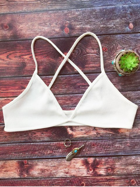 womens Crossed Straps Ribbed Unlined Bra - WHITE ONE SIZE Mobile