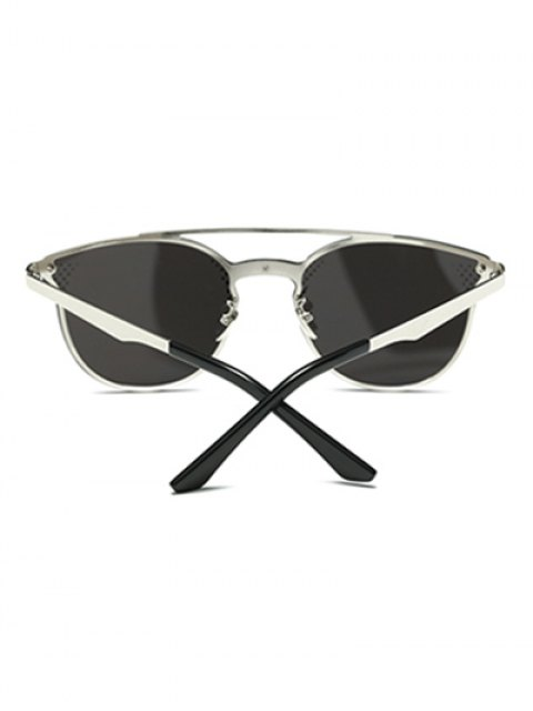 affordable Rhombus Pattern Mirrored Butterfly Sunglasses - SILVER  Mobile