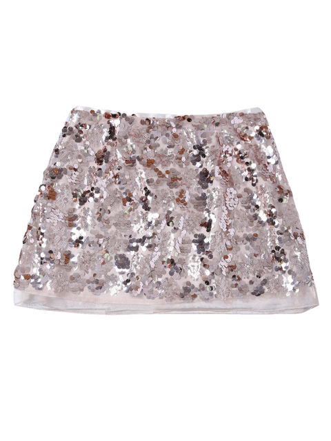 womens Packet Buttock Mini Sequins Skirt - CHAMPAGNE GOLD S Mobile