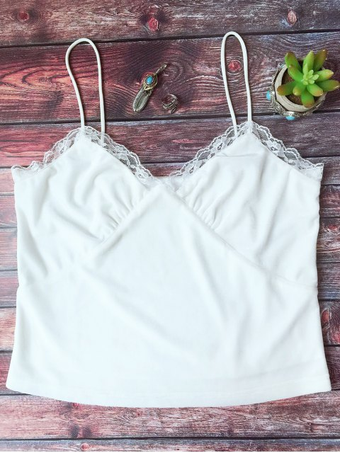 shop Lace Trim Velvet Camisole Top - WHITE L Mobile