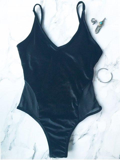online Mesh Panel Cami Velvet One Piece Swimwear - BLACK L Mobile