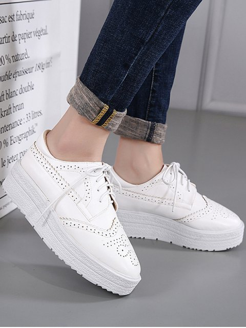 women Faux Leather Wingtip Tie Up Platform Shoes - WHITE 37 Mobile