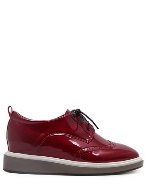 women's Lace Up Engraving Patent Leather Wedge Shoes - BURGUNDY 37 Mobile
