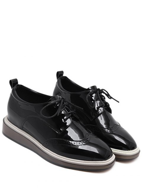 online Lace Up Engraving Patent Leather Wedge Shoes - BLACK 38 Mobile