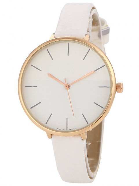 fancy Color Block Quartz Watch - WHITE  Mobile