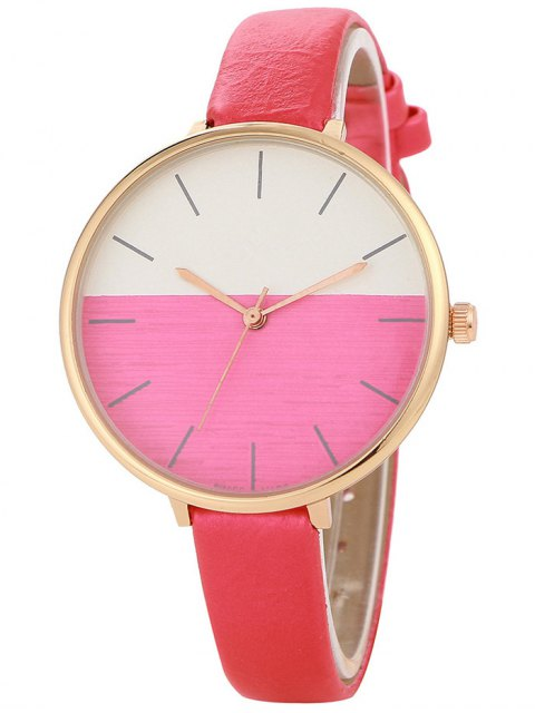 affordable Color Block Quartz Watch - RED  Mobile
