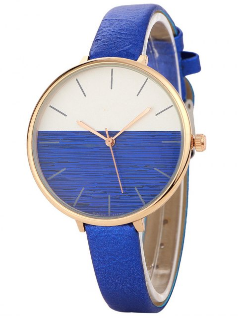 womens Color Block Quartz Watch - BLUE  Mobile