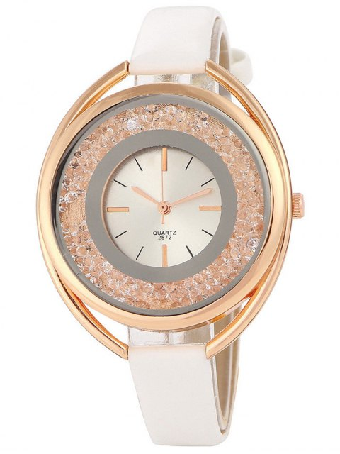 shop Faux Leather Rhinestone Analog Quartz Watch - WHITE  Mobile