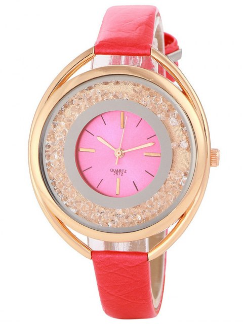 latest Faux Leather Rhinestone Analog Quartz Watch - RED  Mobile