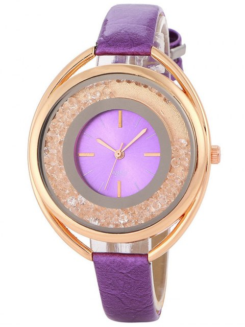 fashion Faux Leather Rhinestone Analog Quartz Watch - PURPLE  Mobile