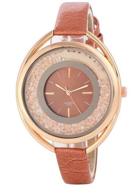 chic Faux Leather Rhinestone Analog Quartz Watch - BROWN  Mobile