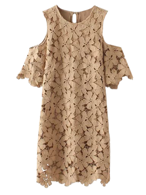 sale Lace Cold Shoulder Dress - KHAKI M Mobile