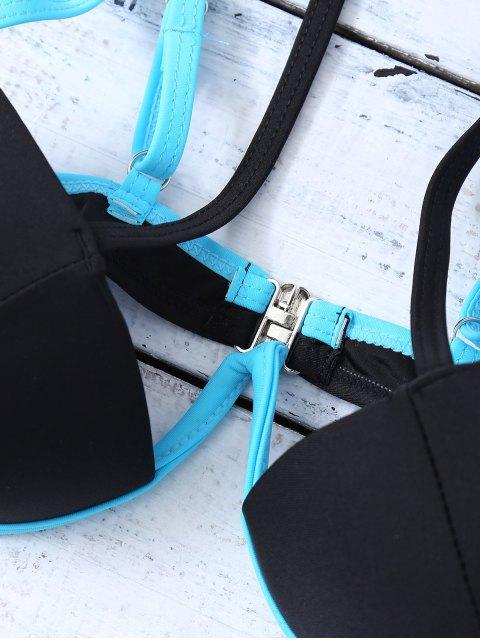 fashion Strappy Molded Cups Bikini - BLACK L Mobile