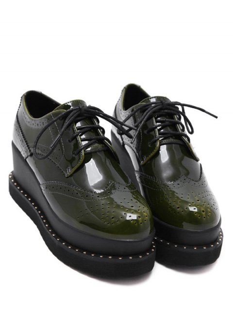 chic Tie Up Round Toe Wedge Wingtip Shoes - ARMY GREEN 39 Mobile
