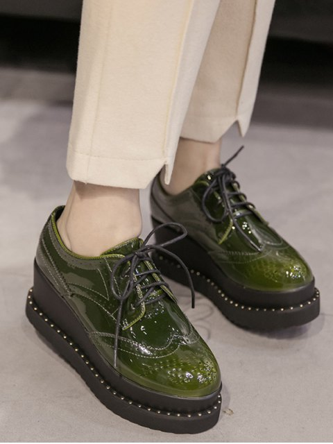 fancy Tie Up Round Toe Wedge Wingtip Shoes - ARMY GREEN 37 Mobile